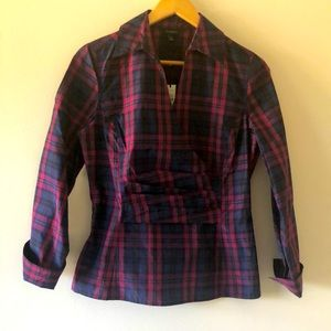 Talbots Silk Cotton Plaid Tartan Faux Wrap Shirt